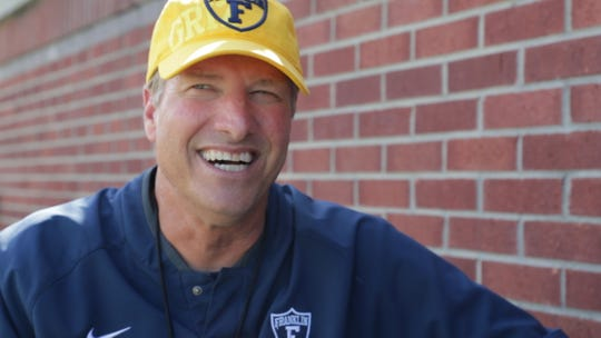 Mike Leonard, head football coach for Franklin College, is three wins away from setting the school's record for wins, Franklin, Wednesday, Sept. 26, 2018. Stewart 'Red' Faught currently holds the record for wins with 120.