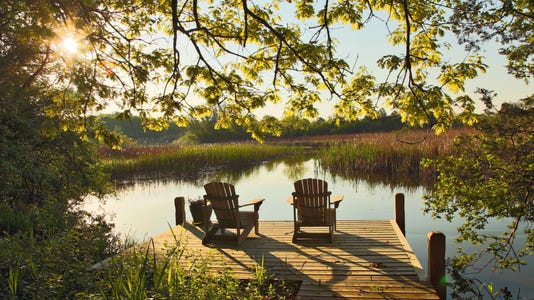 Tranquil Lake Scene With Two Adirondack Chairs