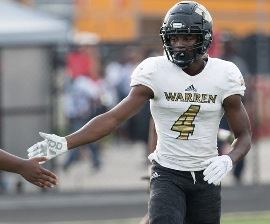 David Bell after hauling in a first-half touchdown for Warren Central High School, during a 58-27 romp for WCHS as they defeat North Central High School at home, Indianapolis, Friday, Aug. 31, 2018.