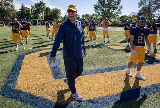 Mike Leonard, head football coach for Franklin College, is three wins away from setting the school's record for wins, Franklin, Wednesday, Sept. 26, 2018. Stewart ÒRedÓ Faught currently holds the record for wins with 120.