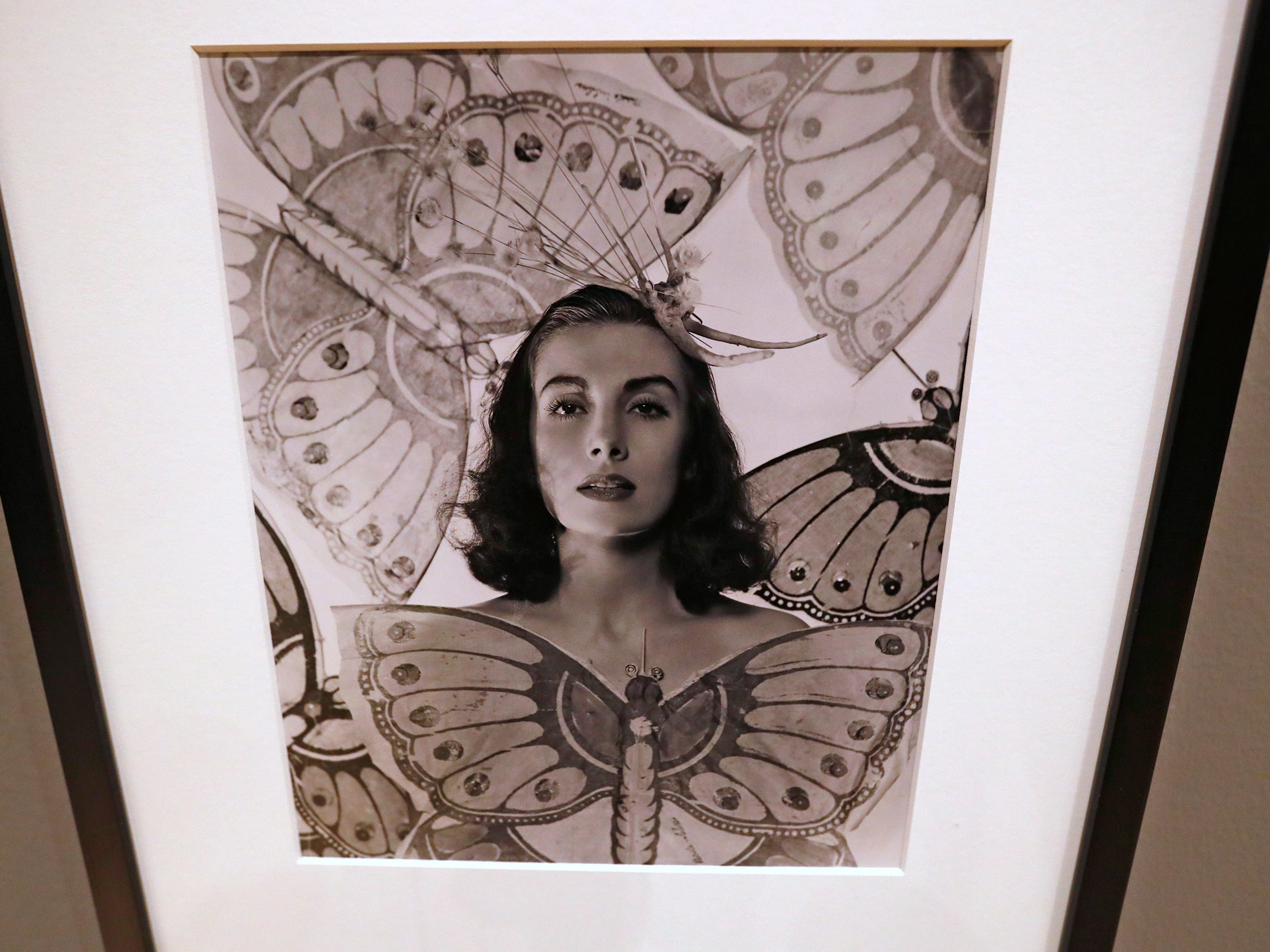 This 1941 gelatin silver print, fashion portrait by George Platt Lynes, from the Collections of the Kinsey Institute, Indiana University, is seen at the George Platt Lynes exhibit at Newfields, Wednesday, Sept. 26, 2018.  Lynes gained fame as a commercial and ballet photogrqapher in the 1930s and 1940s, but he wanted to be known for the male nudes he captured of the male ballet dancers and others.  The exhibit runs Sept. 30, 2018 through Feb. 24, 2019.