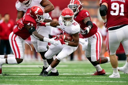 FILE – Hoosiers defensive back Jonathan Crawford (9) and linebacker Dameon Willis Jr. (43)  will be key to stopping Rutgers on Saturday.