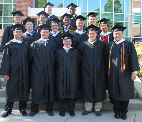 Coach Leonard's graduating class of 2014 football seniors. Trey Thurston (front row, left) says Coach L taught him football is just a game.