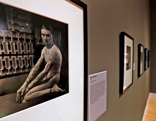This 1934 gelatin silver print, nude portrait by George Platt Lynes, from the Collections of the Kinsey Institute, Indiana University, is seen at the George Platt Lynes exhibit at Newfields, Wednesday, Sept. 26, 2018.  Lynes gained fame as a commercial and ballet photogrqapher in the 1930s and 1940s, but he wanted to be known for the male nudes he captured of the male ballet dancers and others.  The exhibit runs Sept. 30, 2018 through Feb. 24, 2019.