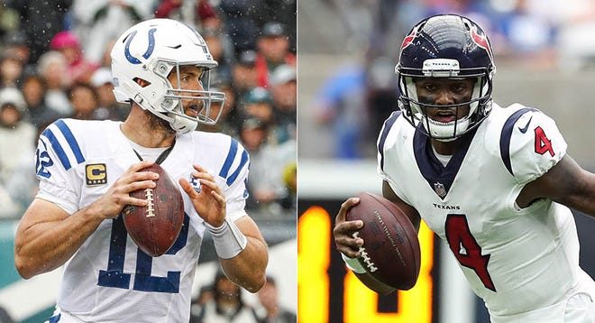 Indianapolis Colts quarterback Andrew Luck (left) and Houston Texans quarterback Deshaun Watson.