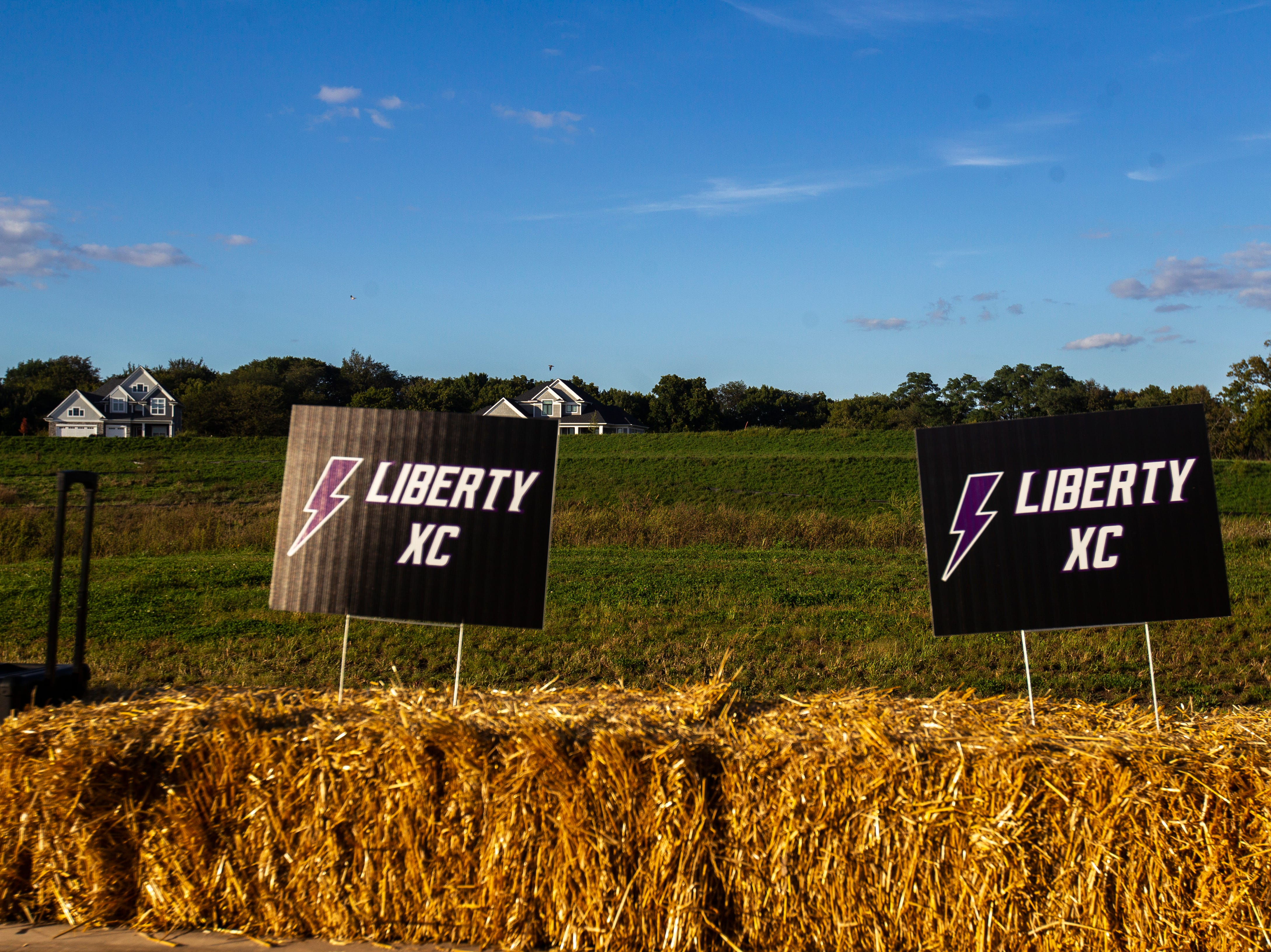 A cross country float is seen before Liberty's homecoming parade on Wednesday, Sept. 26, 2018, in North Liberty, Iowa.