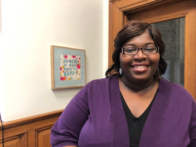 LaTasha DeLoach works in her office at the Iowa City Senior Center Tuesday, Sept. 25. She serves as the vice chair of the Disproportionate Minority Contact subcommittee.