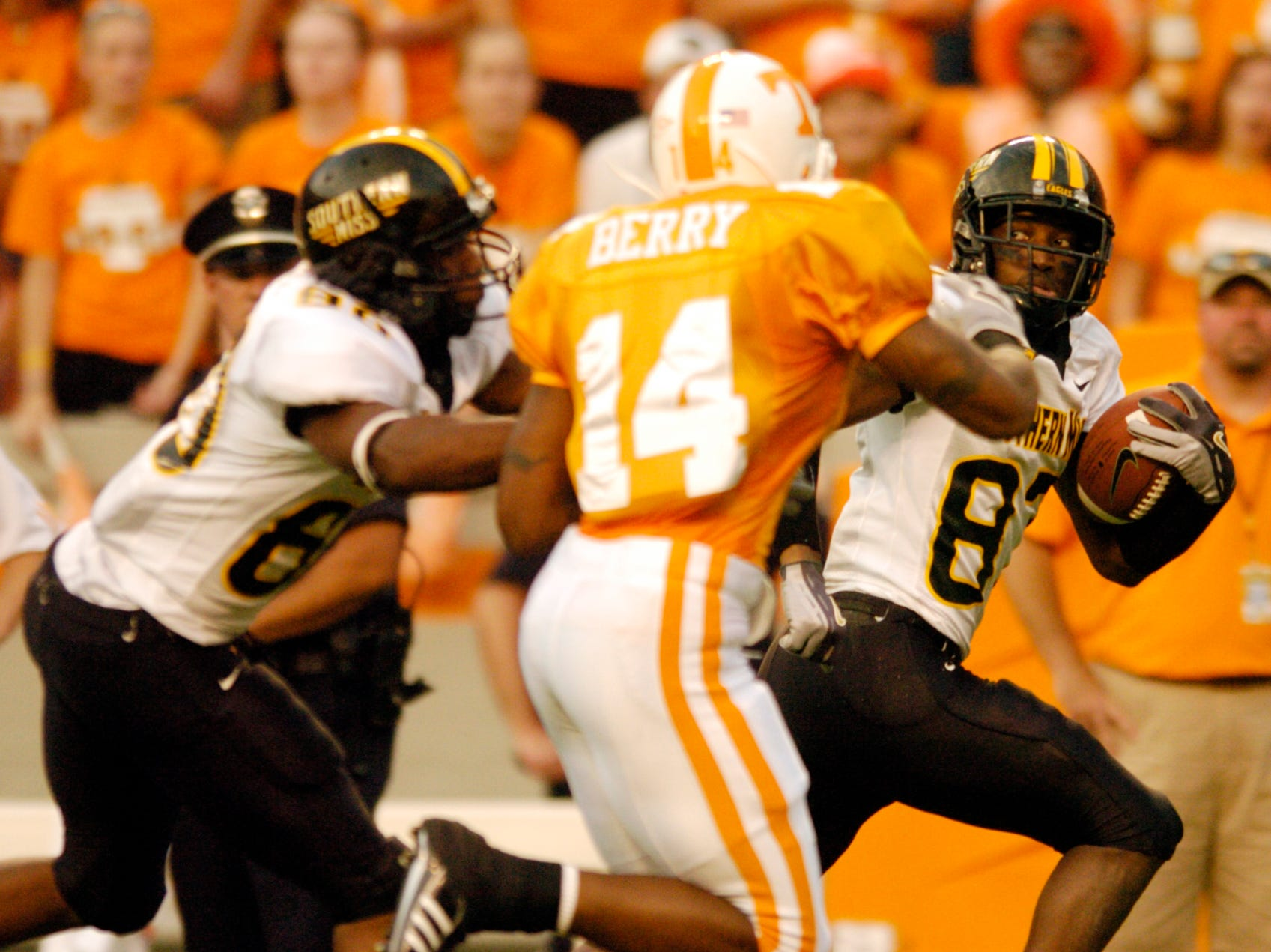 Southern Miss wide receiver Chris Johnson gets past Tennessee safety Eric Berry for a 69-yard touchdown on Saturday at Neyland Stadium. The score gave the Golden Eagles a 10-7 first quarter lead en route to a 39-19 victory, improving their season record to 1-1.