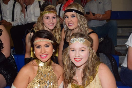 Juniors Emily Coleman, 17, Kendall Warwick; back, Jessica Dukes and Taylor Melgaard are all dressed as 1920s flappers.