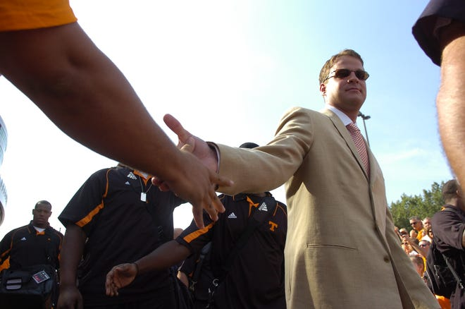 University of Tennessee head coach Lane Kiffin takes part in his first Vol Walk on Saturday, Sept. 5, 2009 at Neyland Stadium.