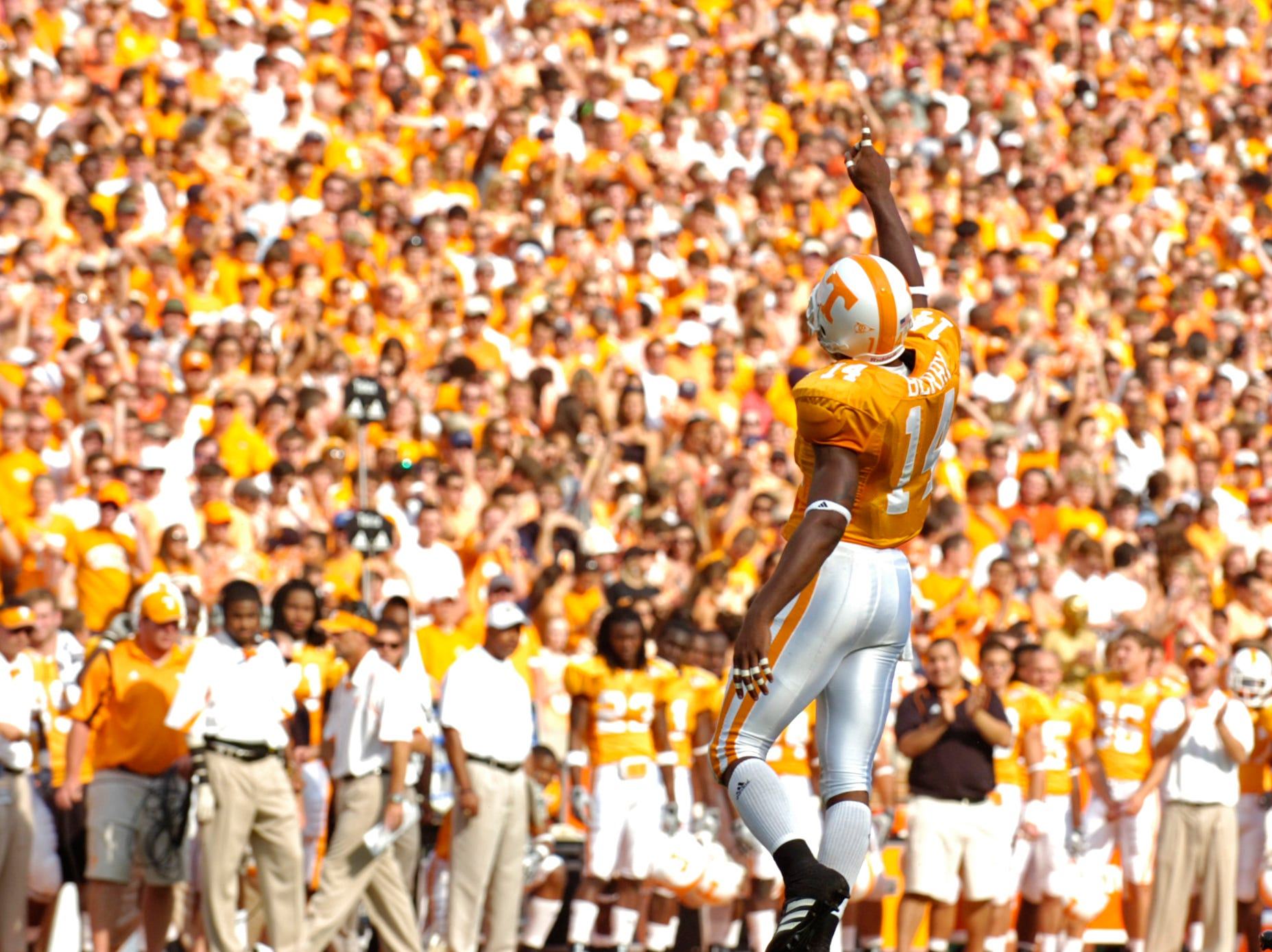 Tennessee cornerback Eric Berry (14) motions to the crowd after a tackle against UCLA on Saturday, September 12, 2009 at Neyland Stadium.