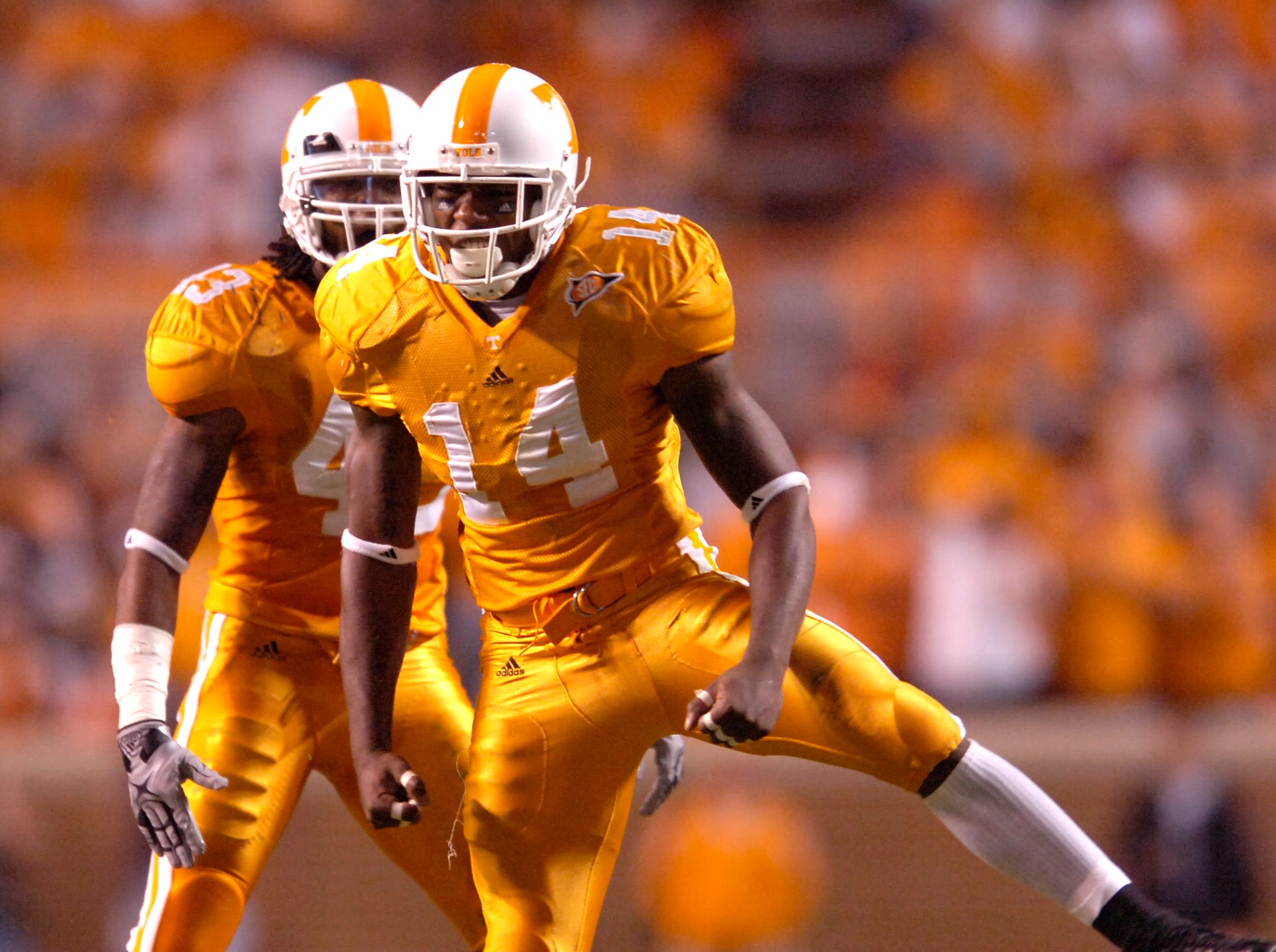 Tennessee cornerback Eric Berry (14) celebrates after stopping the Auburn offense with linebacker Savion Frazier (43) on Saturday, October 3rd, 2009 at Neyland Stadium.