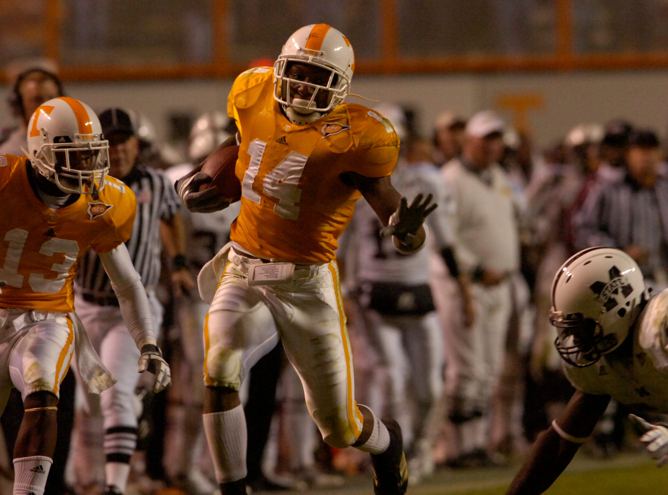 Tennessee safety Eric Berry returns an interception 72 yards for a touchdown against Mississippi State on Saturday at Neyland Stadium. Berry, a sophomore, set a new SEC record for career interception return yards on the play. Tennessee won 34-3, improving to 3-4, 1-3 SEC.
