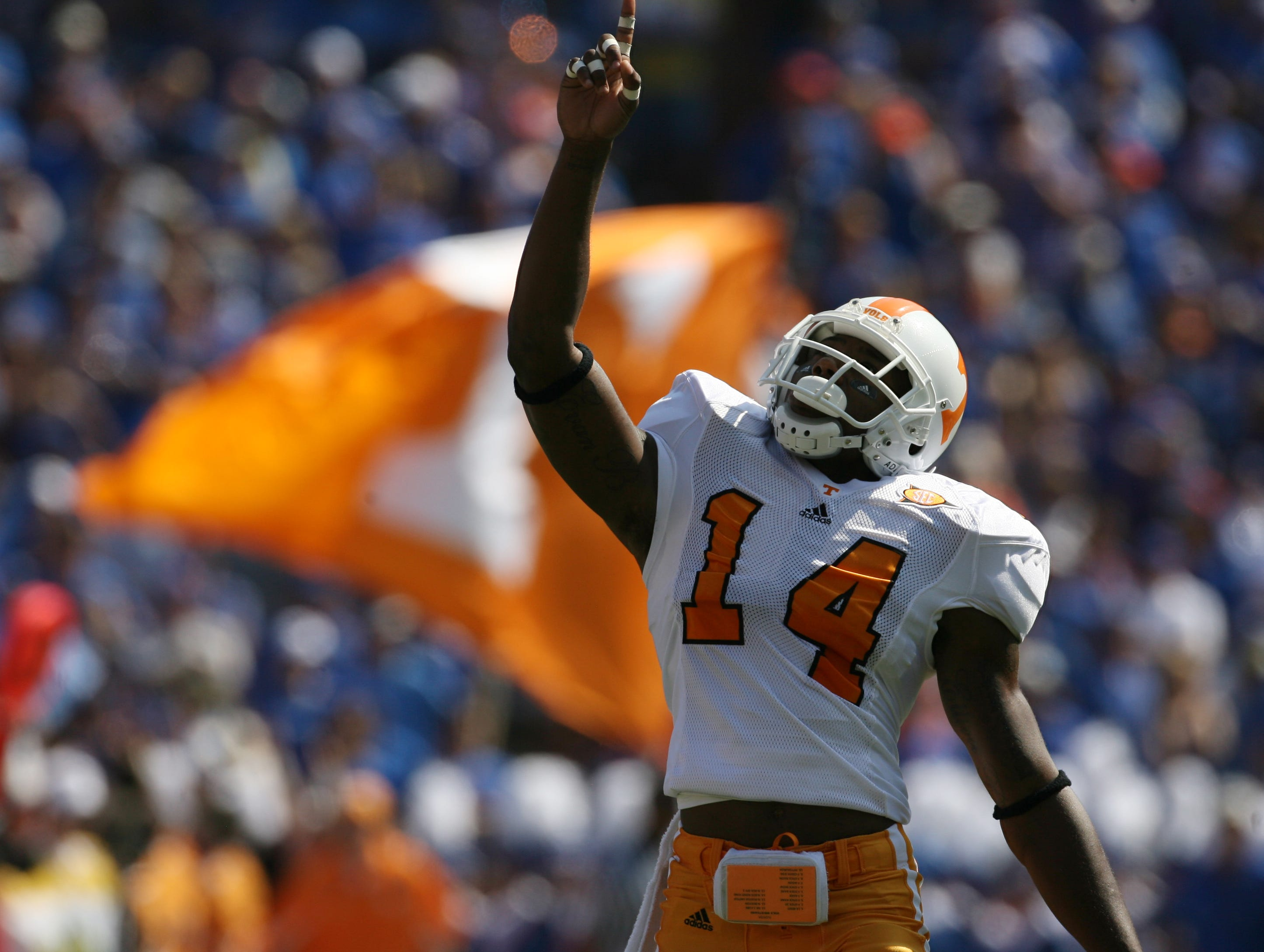 Tennessee cornerback Eric Berry (14) points to the sky before kickoff against Florida on Sept. 19, 2009 at Ben Hill Griffin Stadium in Gainesville, Fla.