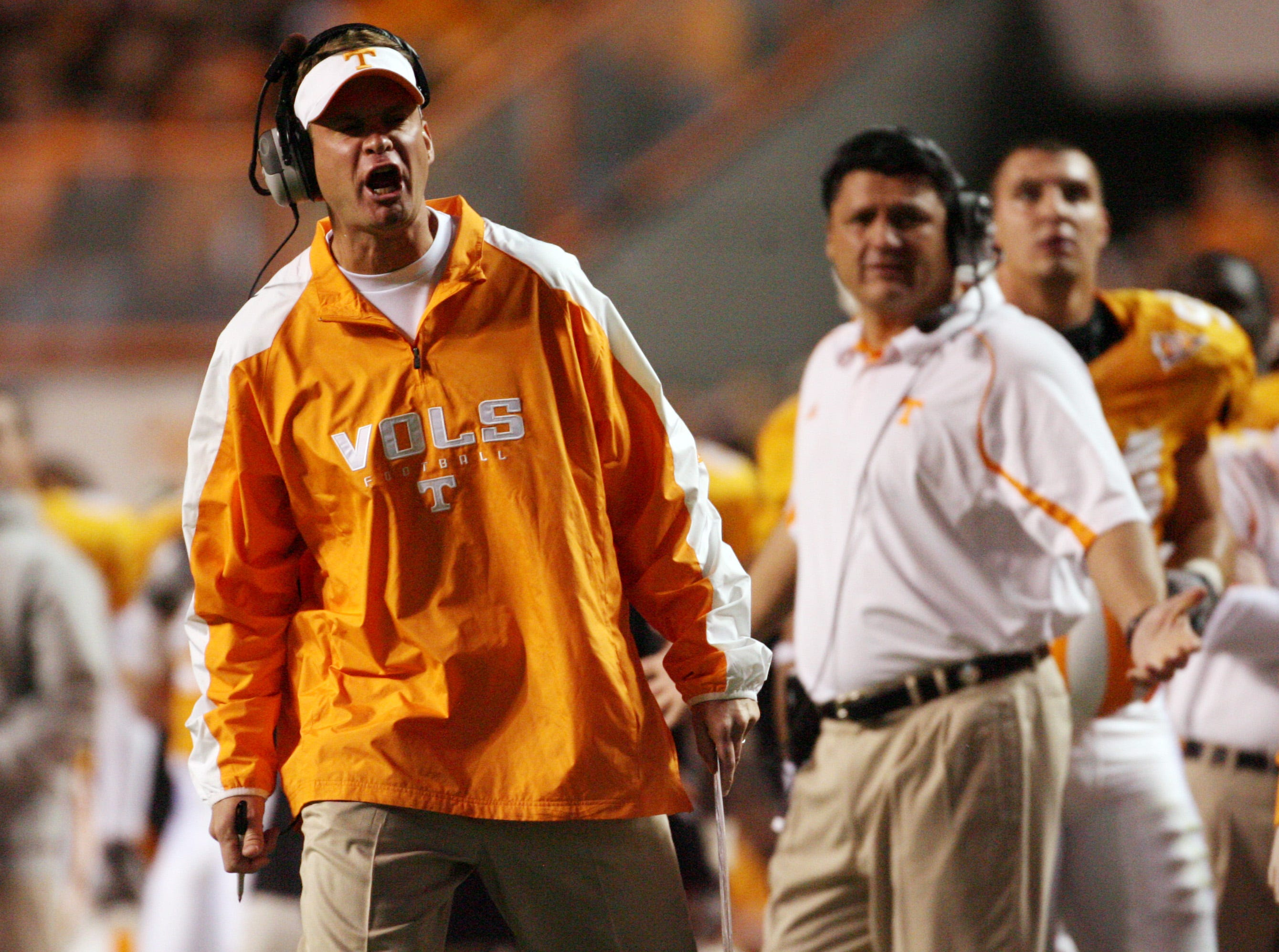 Tennessee coach Lane Kiffin reacts to a call Saturday, Nov. 21, 2009, as the Vols beat Vanderbilt  31-16 at Neyland Stadium.