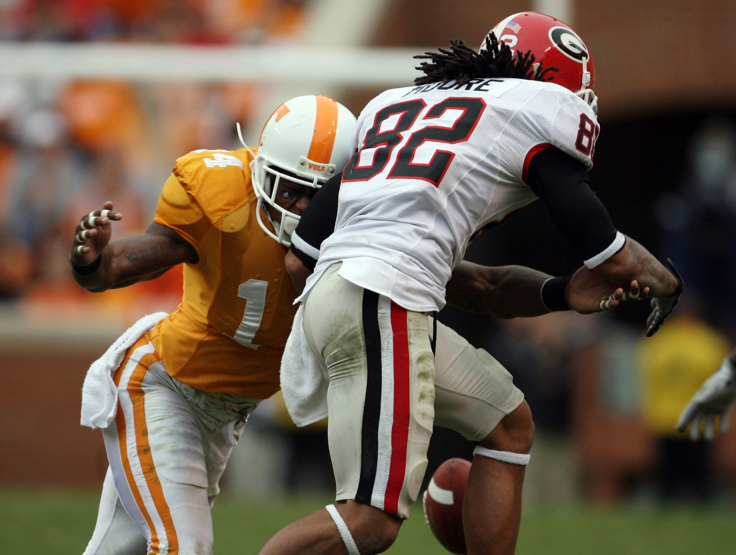 Tennessee cornerback Eric Berry (14) breaks up a pass intended for Georgia wide receiver Michael Moore (82) on Saturday, Oct. 10, 2009 at Neyland Stadium.