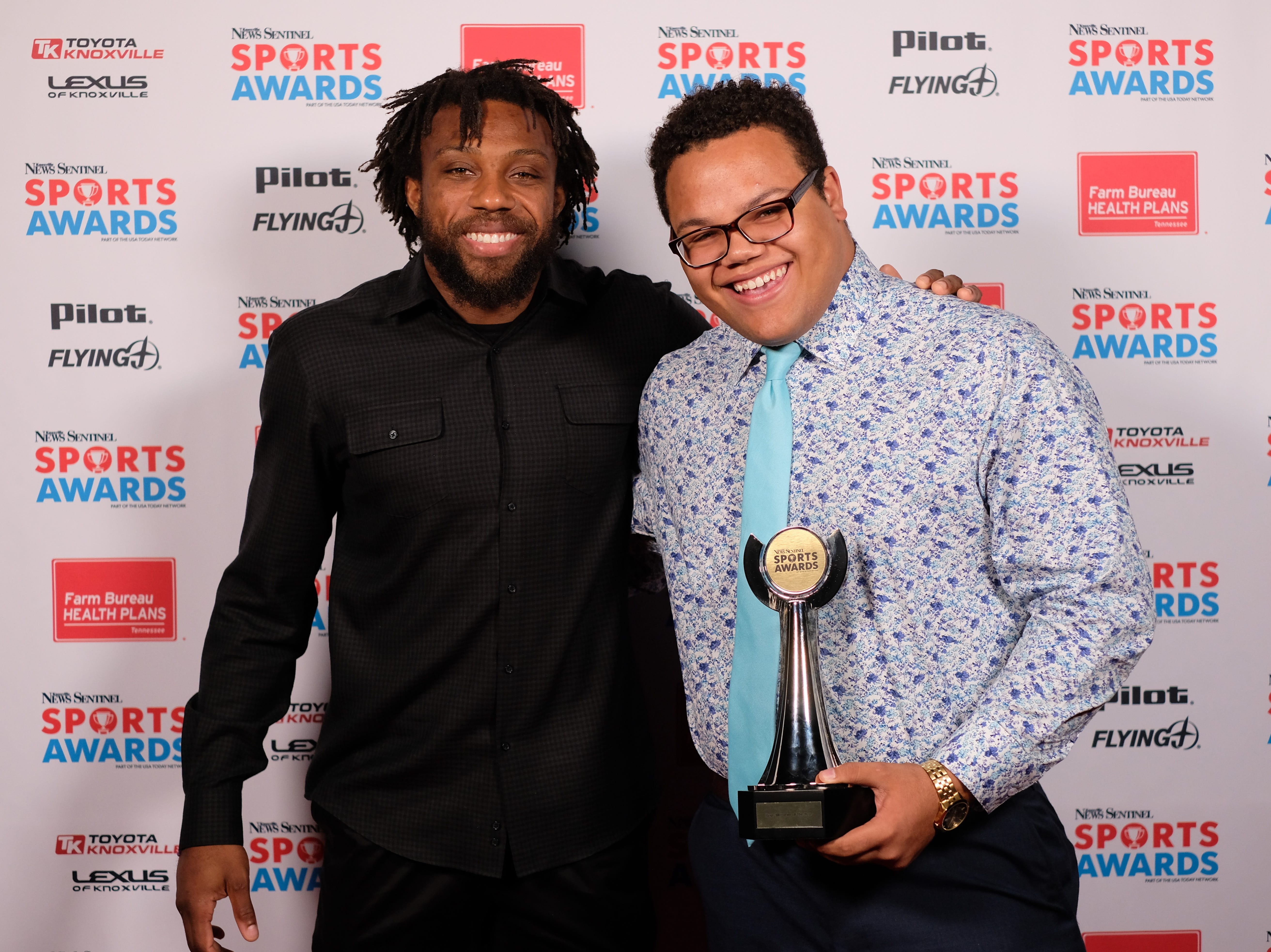 NFL football player Eric Berry is pictured with Sammy Evans of of Alcoa High School during the Knoxville News Sentinel Sports Awards at the Tennessee Theatre on Wednesday, June 7, 2017. Evans won the Wrestling Award and was Boys Athlete of the Year finalist.