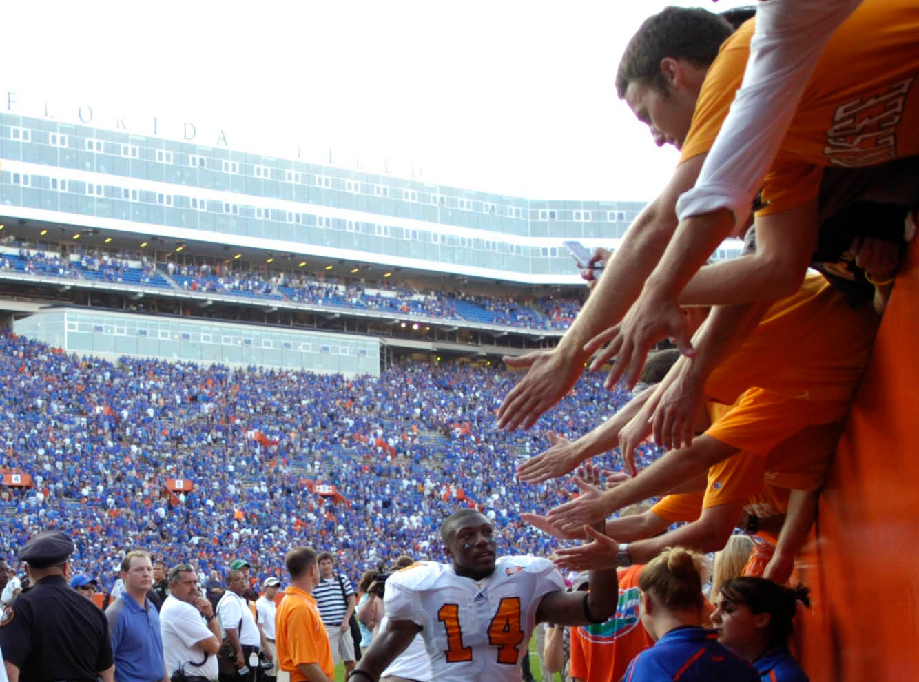 Tennessee cornerback Eric Berry (14) greets fans as he leaves the field after the 23-13 loss to Florida on Saturday, Sept. 19, 2009 at Ben Hill Griffin Stadium in Gainesville, FL.