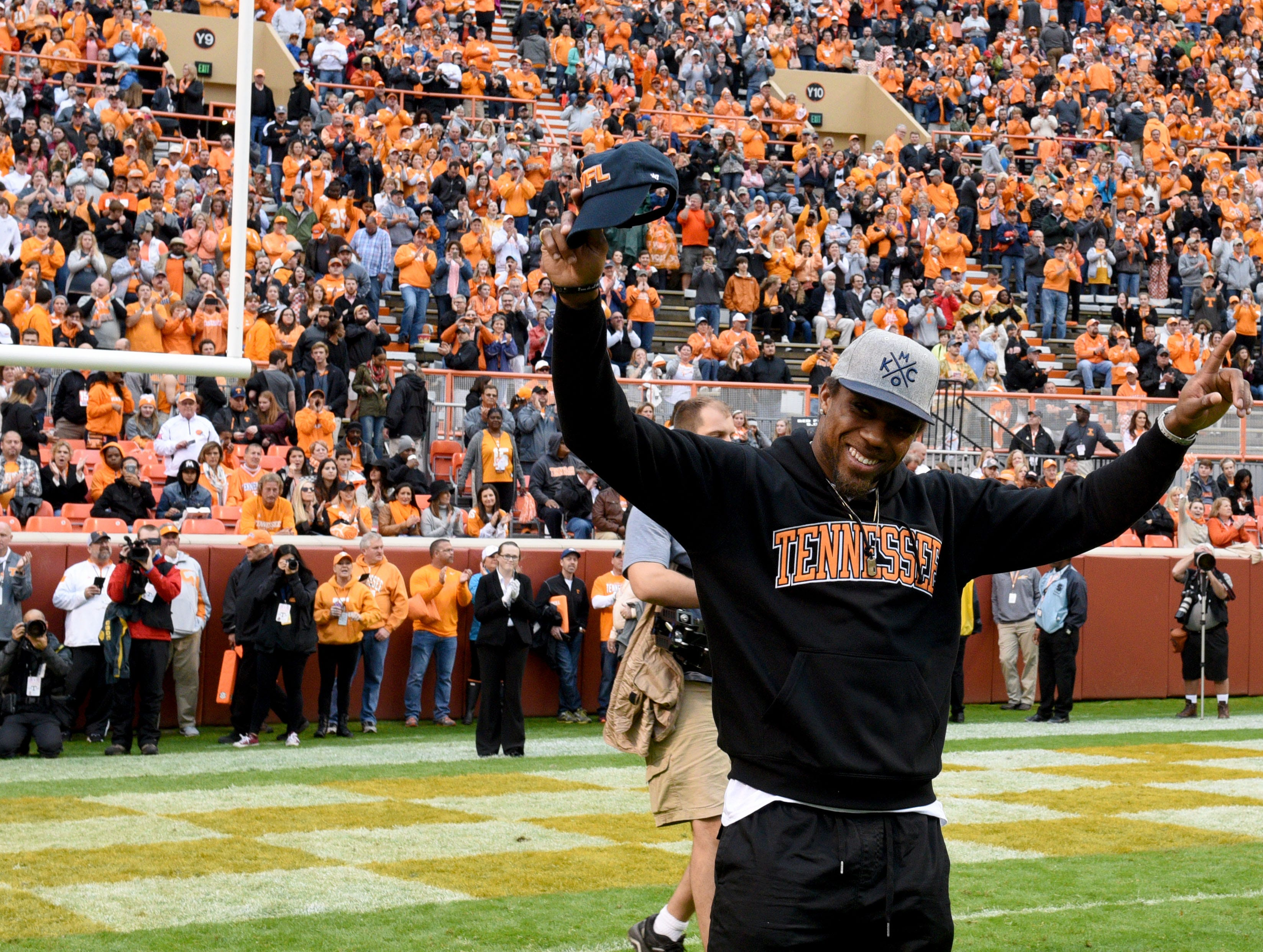 Kansas City Chief and former University of Tennessee football player Eric Berry is recognized as the Legend of the Game at Neyland Stadium in Knoxville, Tenn. on Saturday, Nov. 7, 2015.