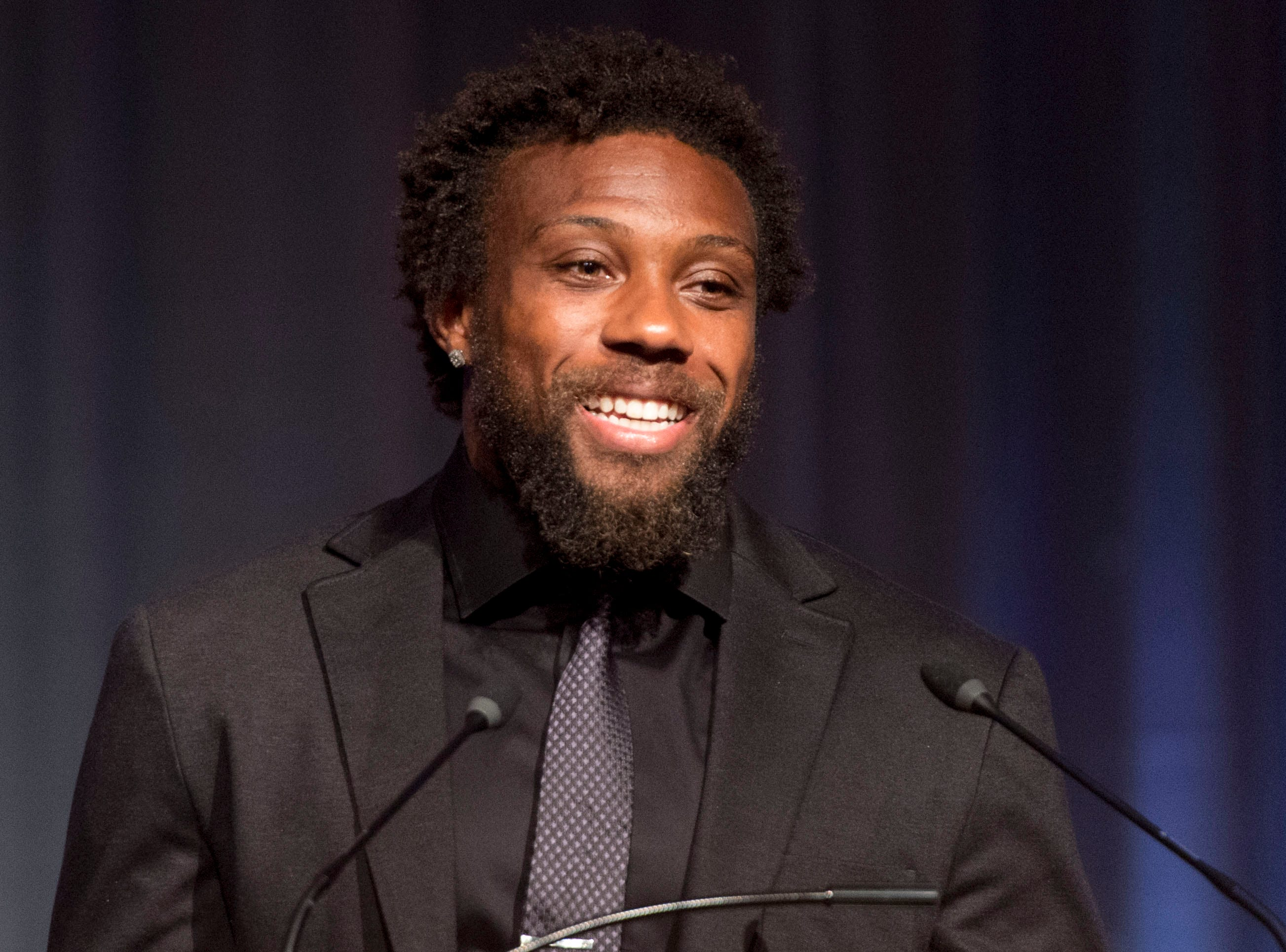 Kansas City Chiefs safety and former Tennessee player Eric Berry addresses guests after receiving the 2016 Pat Summitt Ignite Greatness Award during the Greater Knoxville Sports Hall of Fame Dinner and Induction Ceremony at the Knoxville Convention Center on Tuesday, July 26, 2016.