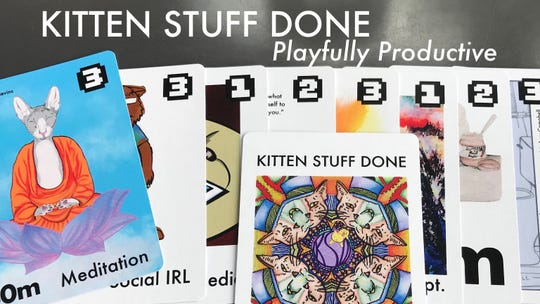 Kitten Stuff Done's 52-card deck of custom-designed kitten graphics is filled with cards to help organize daily tasks and prioritize obligations with illustrations of kittens made by nearly 20 artists.