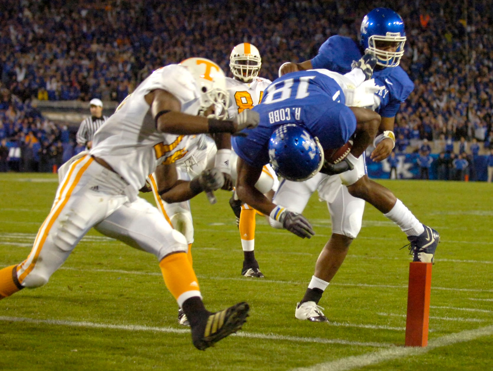 Tennessee cornerback Eric Berry (14) jumps to hit Kentucky wide receiver Randall Cobb as he dives for a touchdown on Saturday, Nov. 28, 2009 at Commonwealth Stadium in Lexington, KY.