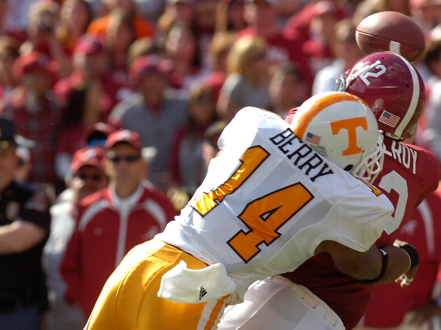 Tennessee's Eric Berry sacks Alabama quarterback Greg McElroy at Bryant Denny Stadium in Tuscaloosa on Saturday, Oct. 224, 2009.