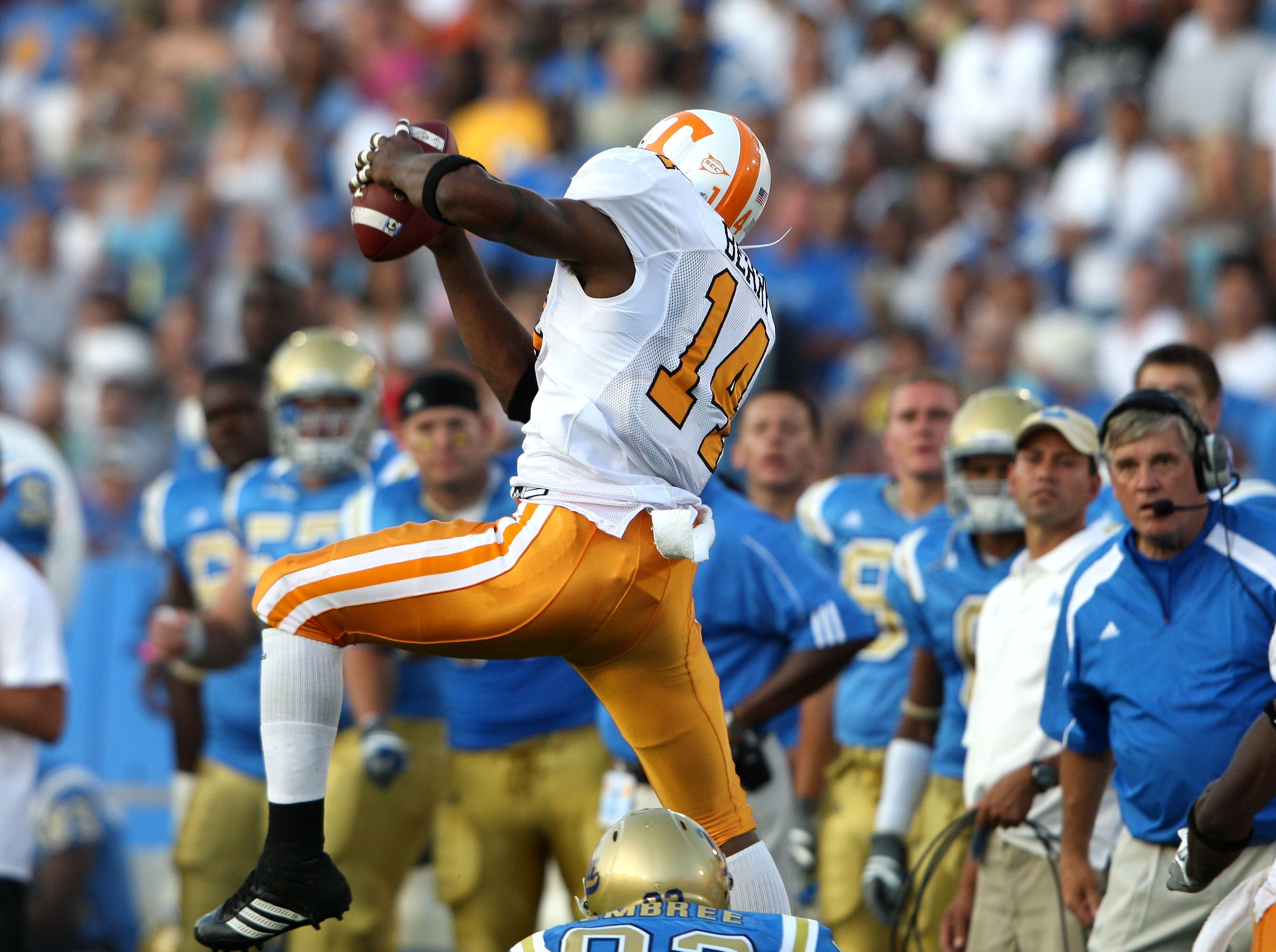 Tennessee defensive back Eric Berry intercepts the ball against UCLA during the first half of a college football game, Monday, Sept. 1, 2008, in Pasadena, Calif.