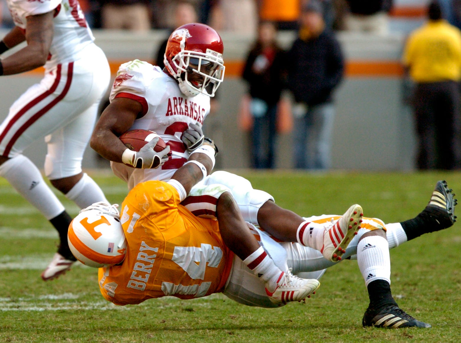 Tennessee safety Eric Berry tackles Arkansas tailback Michael Smith on Saturday at Neyland Stadium. The Vols trounced the Razorbacks 34-13, improving to 7-3 for the season and remaining the team to beat for the SEC East division title. Berry had six tackles and two interceptions and was named the SEC freshman of the week.