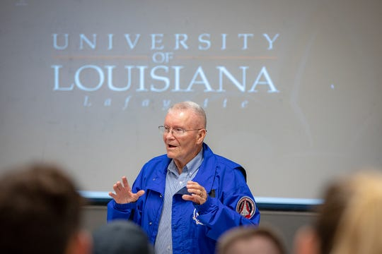 Former NASA astronaut and Apollo 13 lunar module pilot speaks Wednesday, Sept. 26, 2018, to students and faculty of the University of Louisiana at Lafayette Department of Mechanical Engineering.