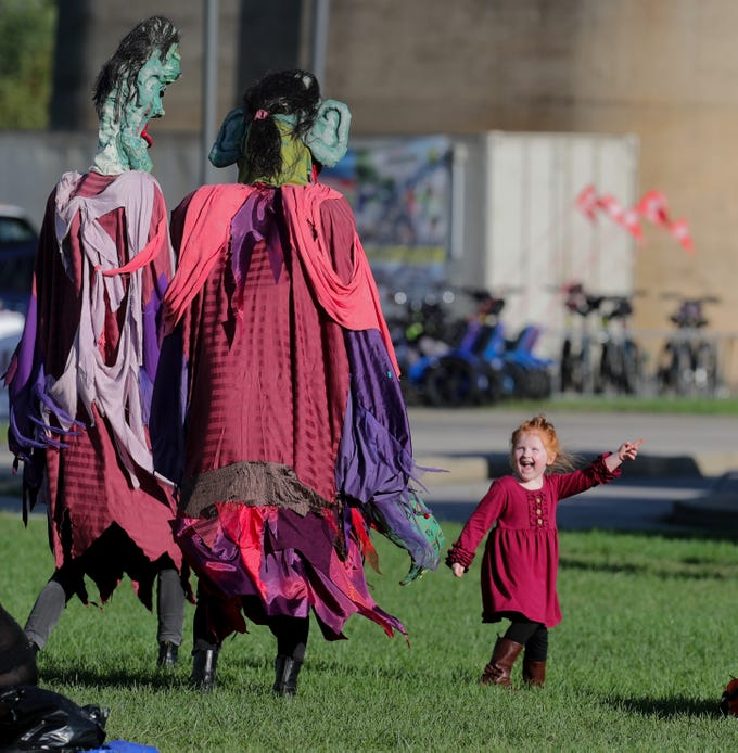Emersyn Rose Neimann dances with her new friends at the last Waterfront Park Wednesday of the season. 