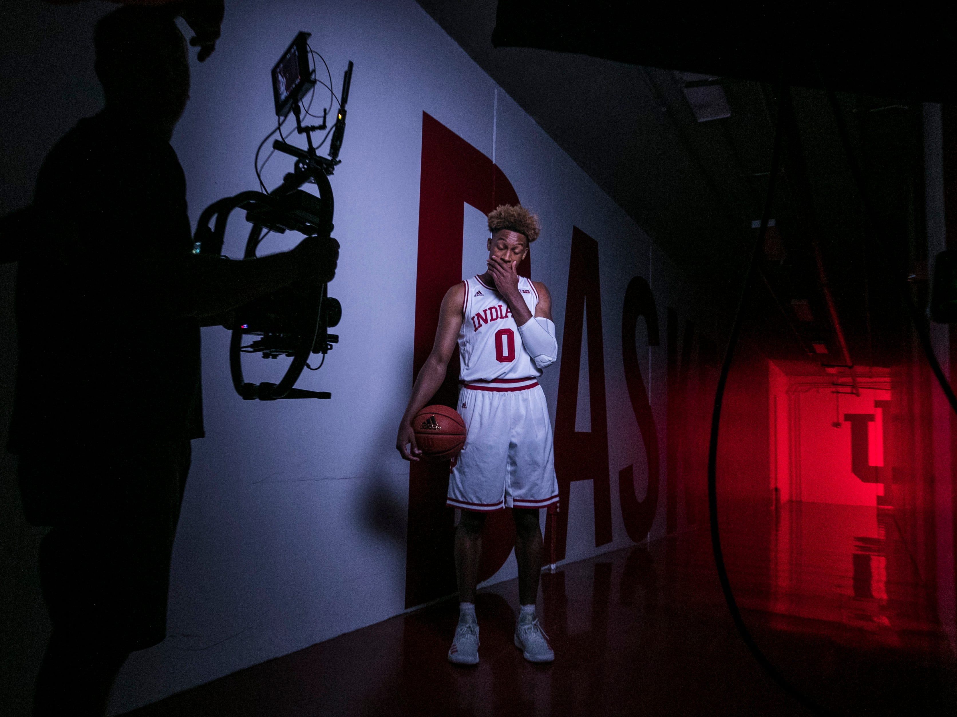 "Freshman Romeo Langford during a video shoot Wednesday afternoon at Assembly Hall. . ""We all know (Romeo) can score, and he shows that ability, but he also is able to see passes and plays before it even happens,"" said Juwan Morgan, IU's senior forward ""... As good as he is, he's only getting better."" Sept. 26, 2018"
