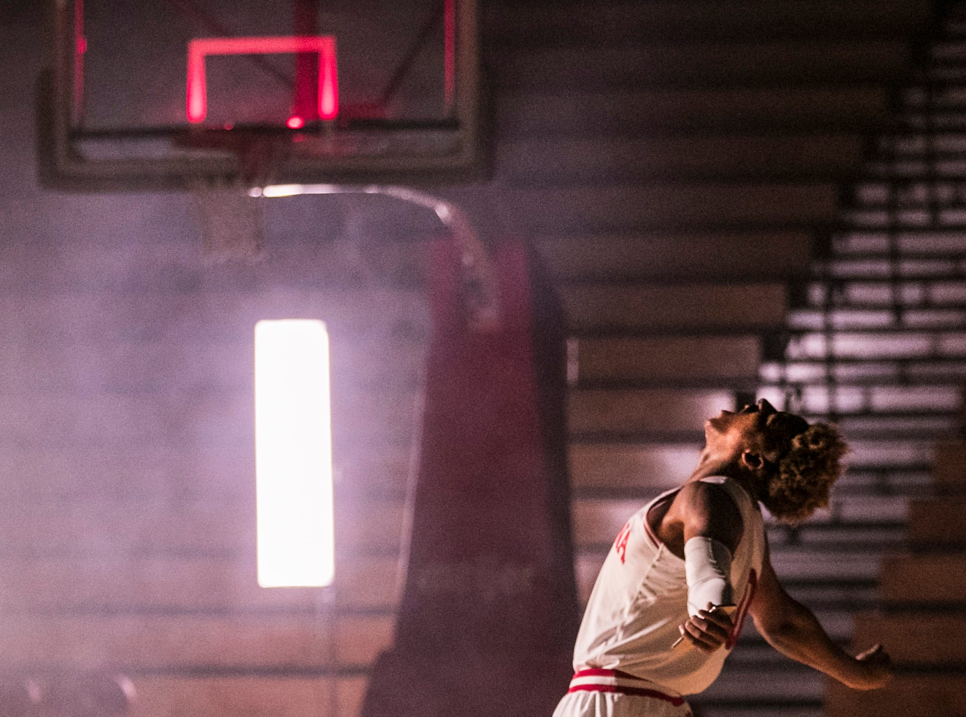 "Freshman Romeo Langford lets out a mock yell during a video shoot Wednesday afternoon at Assembly Hall. . ""We all know (Romeo) can score, and he shows that ability, but he also is able to see passes and plays before it even happens,"" said Juwan Morgan, IU's senior forward ""... As good as he is, he's only getting better."" Sept. 26, 2018"