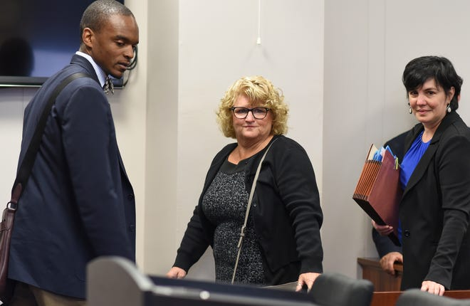 Former MSU gymnastics coach Kathie Klages arrives Thursday, Sept. 27, 2018, in District Judge Louise Alderson's 54A court for a preliminary hearing.