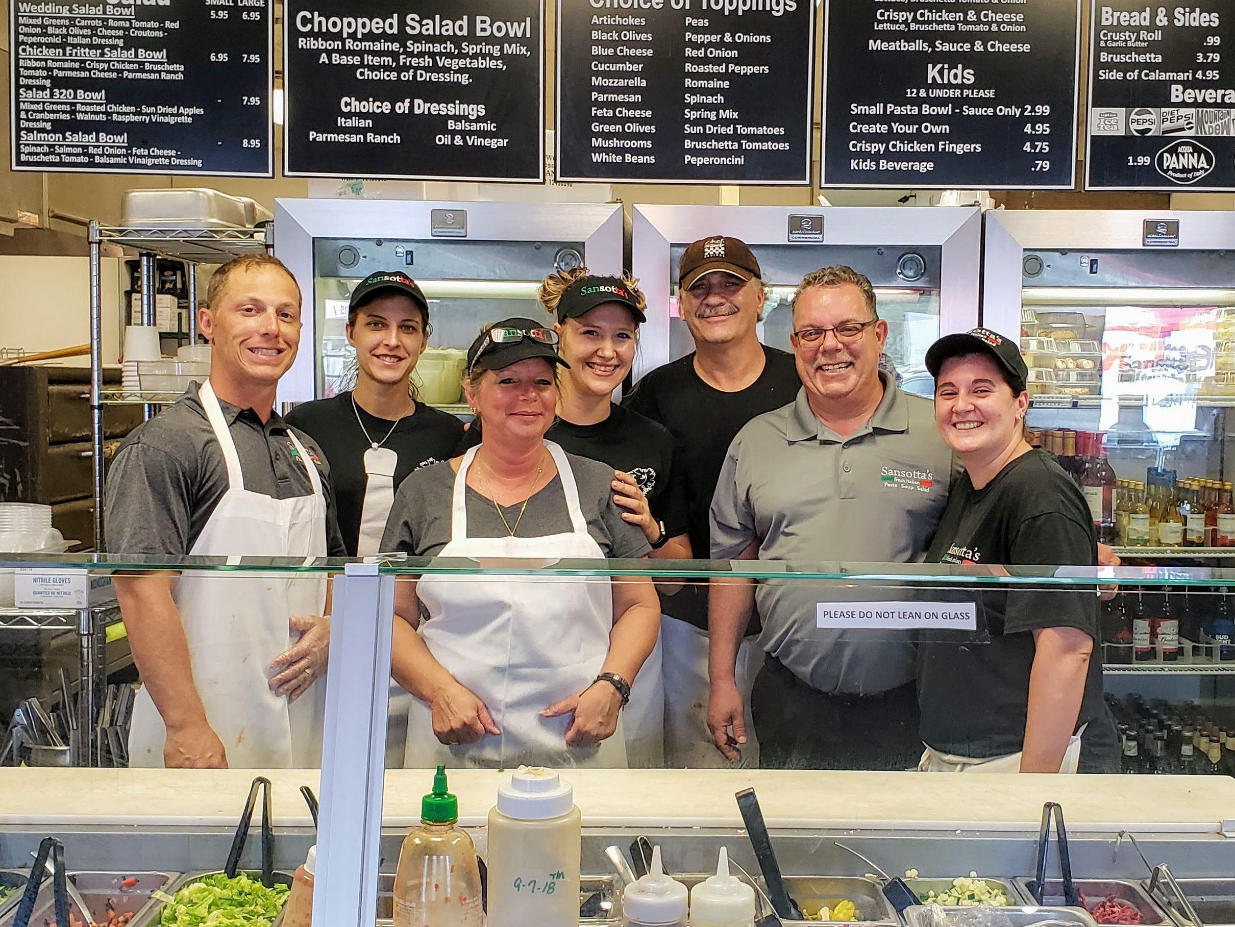 Staff of Sansotta's. Left to right are Ralph Cirillo III, Brandy Thomas, Tami McKinniss, Renee Wilde, Bob Eckard, Joe Sansotta and Tesla Koeppel.