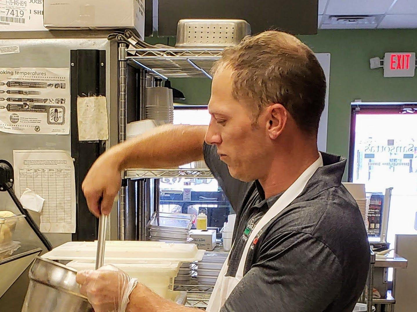 Ralph Cirillo III works in the kitchen at Sansotta's.