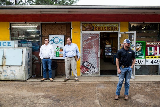 September 27 2018 - Ben Chambers, father of Jessica Chambers, left, is seen in front of a convenience store during a field trip on day 3 during the third day of the retrial of Quinton Tellis on Thursday. Tellis is charged with burning 19-year-old Jessica Chambers to death almost three years ago on Dec. 6, 2014. Tellis has pleaded not guilty to the murder.