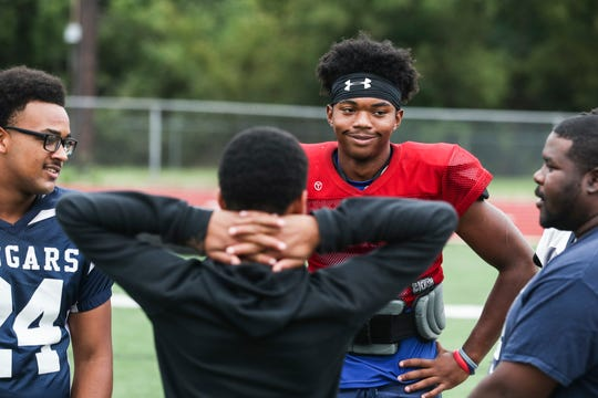 September 26 2018 - Kirby High School football quarterback Jaden Johnson is seen during practice outside of Kirby High School on Wednesday. Kirby High School is currently 5-1 in the 2018 season.