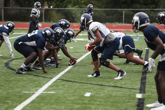 September 26 2018 - The Kirby High School football team runs plays during practice outside of Kirby High School on Wednesday. Kirby High School is currently 5-1 in the 2018 season.