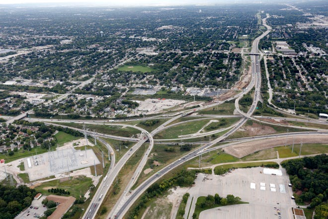 The Zoo Interchange looking south September 12, 2014, over Wauwatosa.