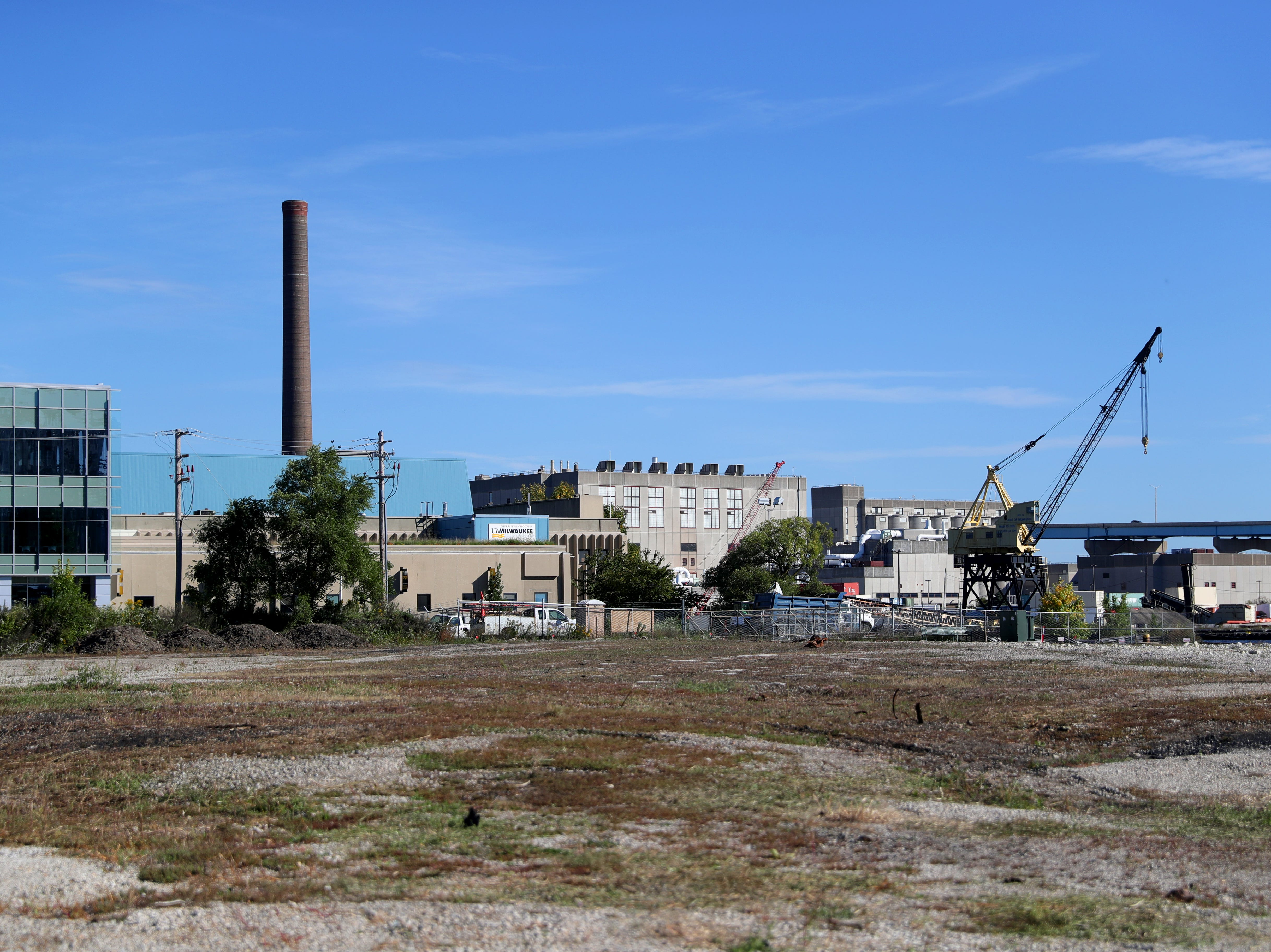The area of land in Milwaukee's Harbor District, looking to the northeast, where Komatsu Mining Corp.'s new development will be.  The proposed new office, manufacturing and training operations are expected to eventually total around 1,000 jobs, including 600 local employees who will move there.