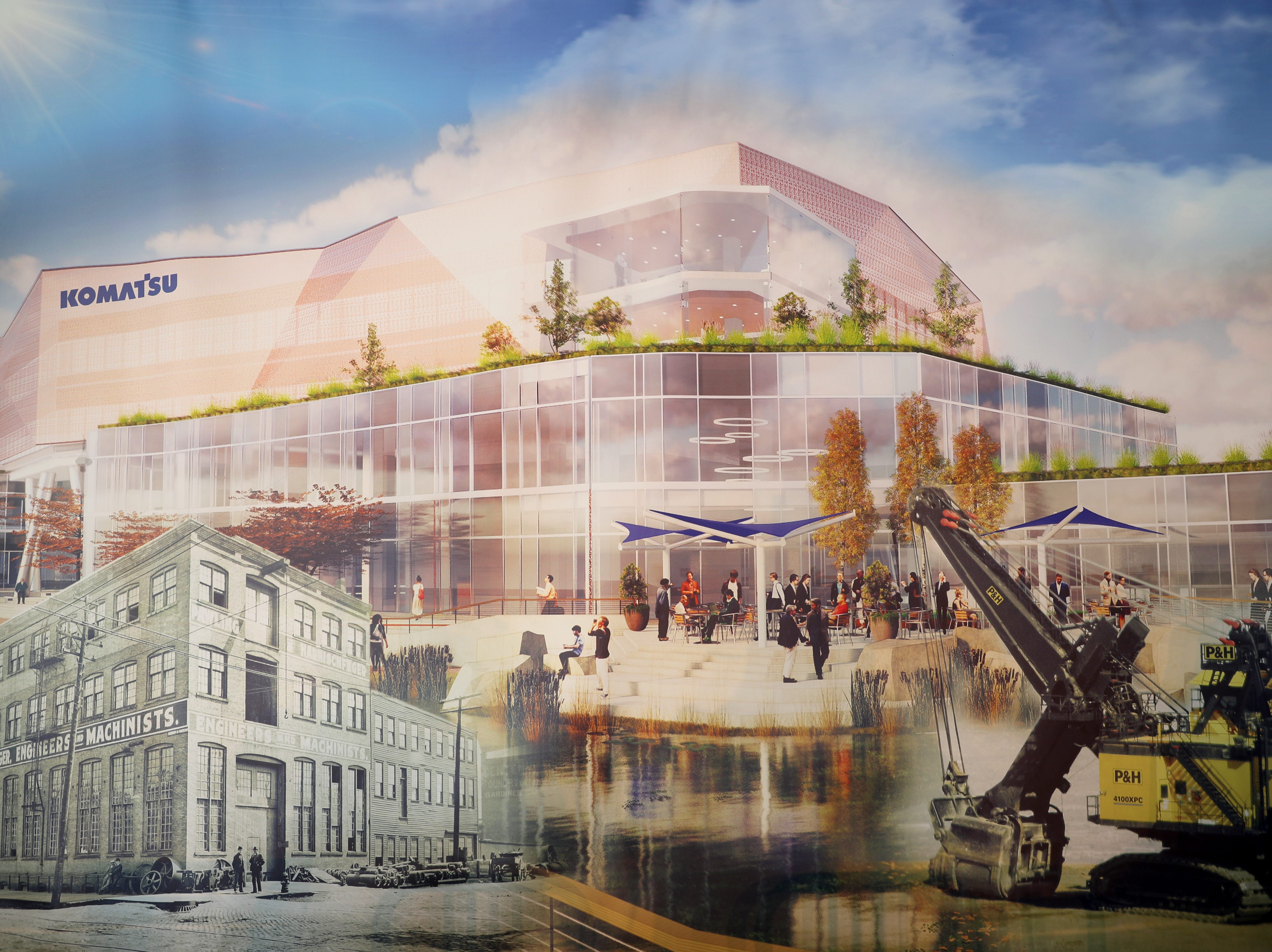 A rendering of the new Komatsu Mining Corp. development in Milwaukee's Harbor District, which will include office, manufacturing and training space, as well as a public RiverWalk.