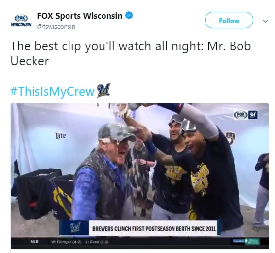 Bob Uecker gets a shower after the Brewers clinch