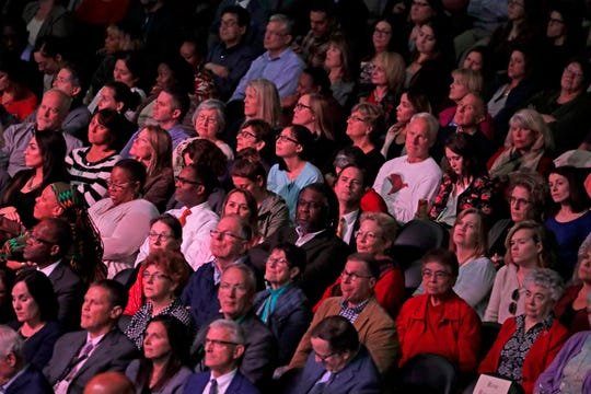 """The audience listens to Bruce Perry speak during a """"Healing Trauma, Healthy Communities"""" event at Fiserv Forum on Wednesday."""