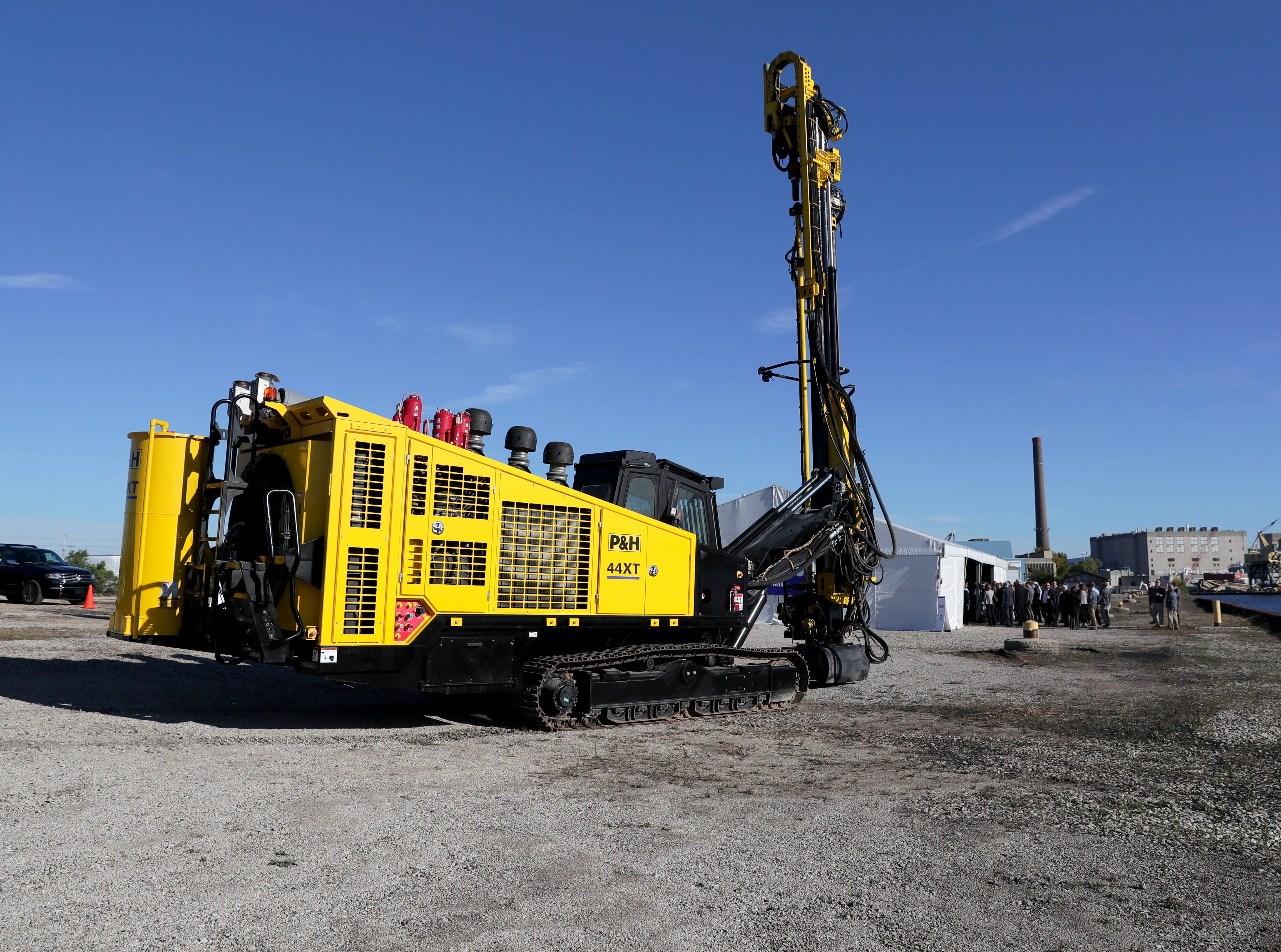 A piece of mining equipment was on display during the announcement.