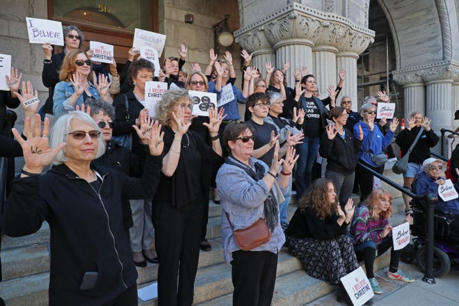 A group of women gathered at the federal courthouse in Milwaukee in solidarity with Christine Blasey Ford. They also delivered a letter to Sen. Ron Johnson's office there urging a no vote on Brett Kavanaugh.