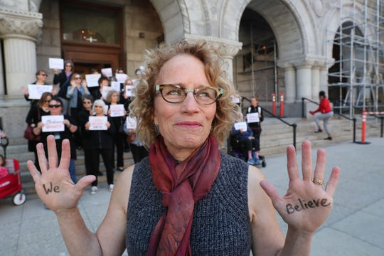 Janet Slater is the spokesperson for a group of women who gathered at the federal courthouse in Milwaukee in solidarity with Christine Blasey Ford.