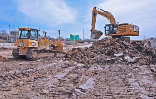 Edgerton crews excavate for the Zoo interchange May 1, 2015.