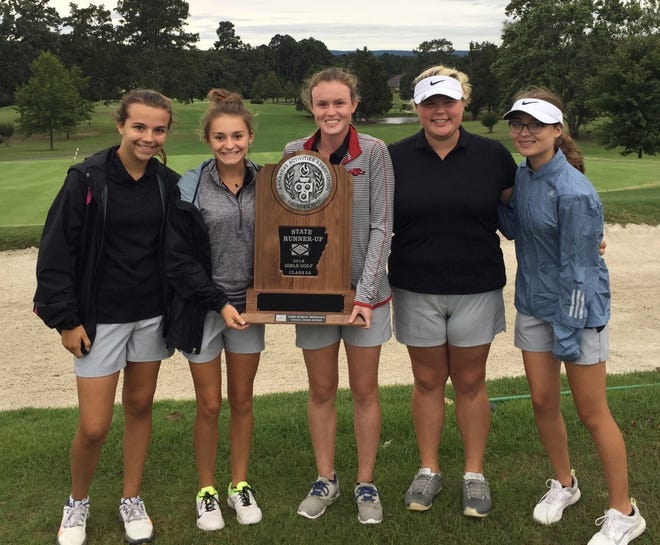 The Mountain Home Lady Bomber golf team placed second at the Class 5A State Tournament on Wednesday at Hot Springs. Team members are: (from left) Ella Brashears, Sydney Czanstkowski, Kenzie Collins, Haley Czeschin, and Madelyn Smith.
