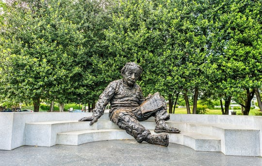 A statue in Washington, D.C., of Albert Einstein, who was vocal about God's role behind the laws of physics.